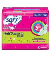 Sofy Anti Bacterial and Bodyfit Size XL Sanitary Napkin, 30N