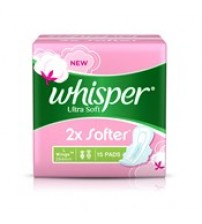 Whisper Ultra Soft Large Sanitary Napkin, 15N